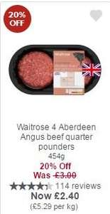 Waitrose 4 Aberdeen Angus beef quarter pounders 454g for £2.40 (£0.90 with Cashback & MyPicks)