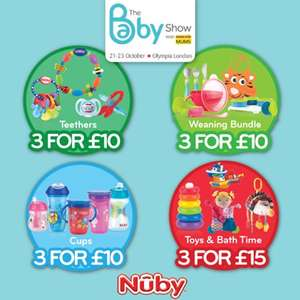 2 day only babyshow deals inc teethers, bottles, cups, bath toys -  4 bottles were £15.99 now £8 @ Nuby