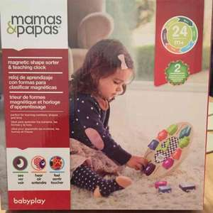 Mamas & Papas Wooden Clock / Shape Sorted. £3 in store @ Asda Derby