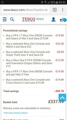 Credit to original OP - Back on 7 game bundle Xbox one S Fifa 17 500gb with Gears 4, GTA V, Forza Horizon 3, Overwatch, Mafia 3, Halo V £337.49 @ Tesco Direct