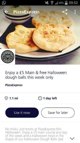 o2 Priority- main and dough balls at Pizza Express