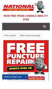Free Puncture Repair (charge for valve + balance) @ National Tyres
