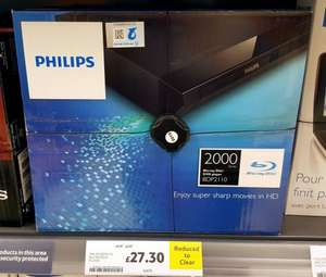 Philips BDP2110 Bluray & Dvd player Reduced from £49 to £27.30 @ Tesco instore