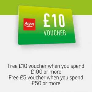 Free £5 gift card when you spend £50 or free £10 gift card if you spend £100 @ Argos Tomorrow (26th October) online and instore