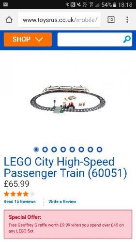 Lego City High-speed Passenger Train (60051) £65.99 | Toys R Us