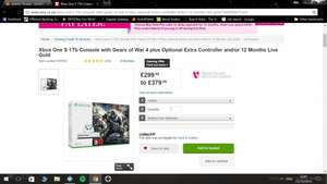 Xbox One S 1TB with Gears of War 4  £299 (£249 after credit) @ Very