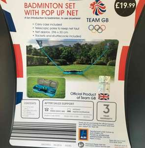 Team GB Badminton set with pop up net  £9.99 @ Aldi instore (Foster Square)