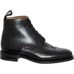 LOAKE Black Leather Lace-Up Brogue Boots £89.99 delivered @ TK MAXX