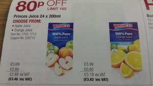 Princes Apple / Orange juice 24 x 200ml cartons (14p carton/72p litre) £3.46 @ Costco