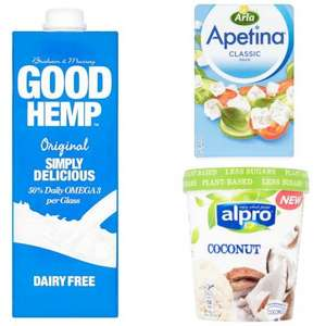 Tesco Magazine Vouchers. Good Hemp Long life Milk Alternative 1l 70p with voucher, Alpro Ice Cream 500ml 3 for £4 with voucher, Apetina Classic Block Cheese 200g 70p with voucher and more