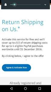 paypal free returns is back @ paypal (up to £15)