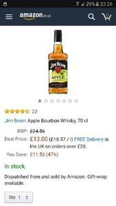 Jim beam apple bourbon at Amazon for £13 (Prime or plus £4.75)