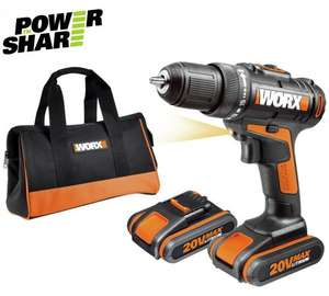 Worx Cordless 20V 1.5Ah Li-Ion Drill Driver 2 Batteries WX170 @ B+Q + Free Delivery or Click & Collect , 3 year warranty