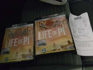 Life of PI 4K UHD Blu rays 2 for £10 Tesco (Instore) worth 19.99 each