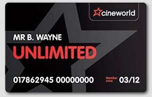 Get 2 months of free Cineworld membership (Unlimited card holders only) £17.40 (Retention deal)