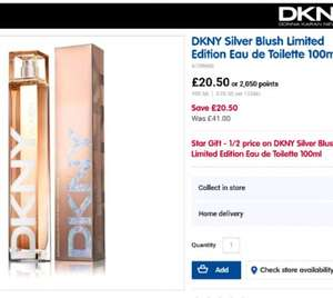 DKNY Silver Blush Limited Edition Eau de Toilette 100ml was £41 now £20.50 @ Boots. Free Click and Collect & Triple advantage card points.