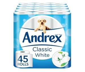 Andrex Classic White Toilet Roll Tissue Paper - 45 Rolls £14.99 Prime @ amazon (plus £3.00 non prime)
