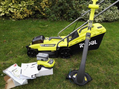 RYOBI 18V lithium (4.0ah) Cordless lawnmower + cordless strimmer NOW £90 instore - Homebase.
