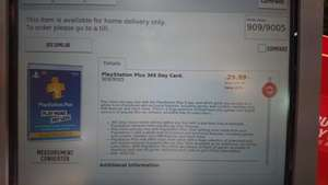 Playstation Plus 365 Day Card £29.99 Argos In store