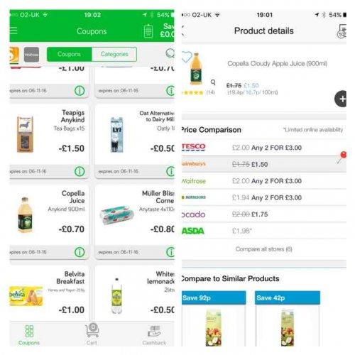 Copella fruit juices, 900ml, £1.50 at Sainsburys, also 70p cashback ( 80p)