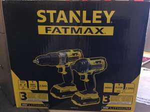 Instore - Derby Homebase - Stanley Fatmax 18V Twinpack. 18V Hammer Drill / Drill Driver and Impact Driver £70