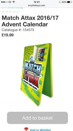 Match Attax Advent Calendar In store £15.99 @ Smyths Toys