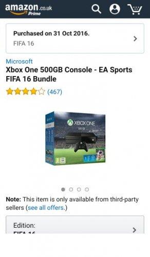 Xbox One 500GB Console - EA Sports FIFA 16 Bundle (Used - Very Good) @ Amazon Warehouse £194.85