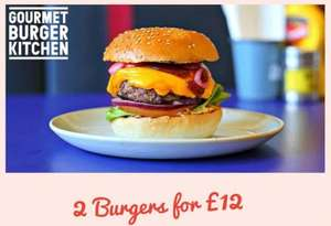 Gourmet Burger Kitchen : 2 Burgers for £12 until 8th November