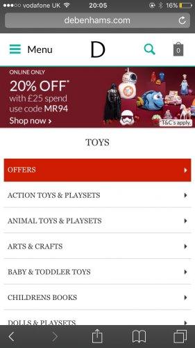 Debenhams Toy sale up to 30% off plus extra 20% off use code MR94 @ Debenhams
