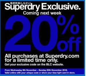 20% off Superdry with Blue Light Card (9th - 20th November)