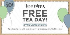 Free tea day with Teapigs at various locations...today only