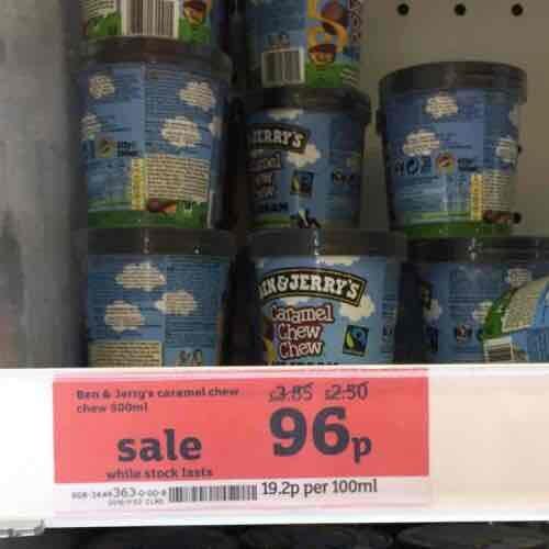 Ben & Jerrys Caramel Chew Chew 500ml Ice Cream 96p in store at Sainsburys