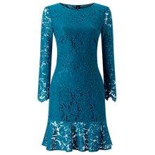 Jacques Vert Lace Flute Hem Dress Mid Blue (88552241) £38 WAS £129 @ JohnLewis