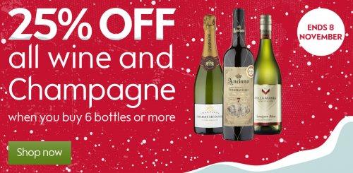25% off 6 bottles of wine & Champagne @ Waitrose until 8th Nov