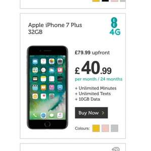 Apple iPhone 7 Plus 32GB 10GB 4G Data, Unlim Mins, Unlim Texts £40.99 Month £79.99 Upfront £1063.75 @ Mobile Phones Direct