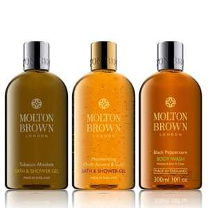 Molton Brown Men's 3 Piece Body Wash Collection (Tobacco Absolute, Oudh Accord & Gold. Black Peppercorn) £38.43 Delivered @ QVC RRP is £62