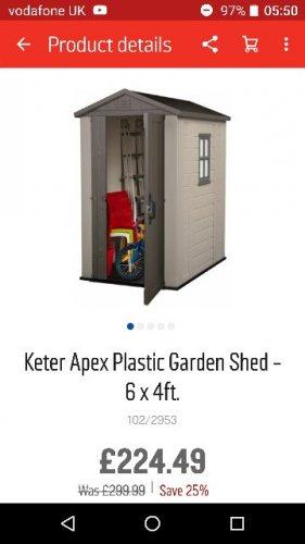 Keter 6x4 apex garden shed £224.49 @ Argos