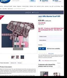 BOOTS - Jack Wills Blanket Scarf Gift Set - was £50 now £25