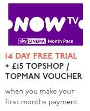 FREE £15 Topshop/Topman voucher with 6 weeks Sky Movies on Now TV and potential £12.60 TopCashBack for £9.99