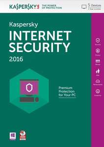 Kaspersky Internet Security 2016 - 5 Users - 1 Year [PC Download] £15 @ Amazon