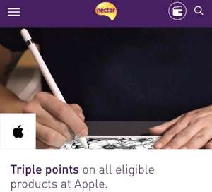 Nectar Triple points on all eligible products at Apple.