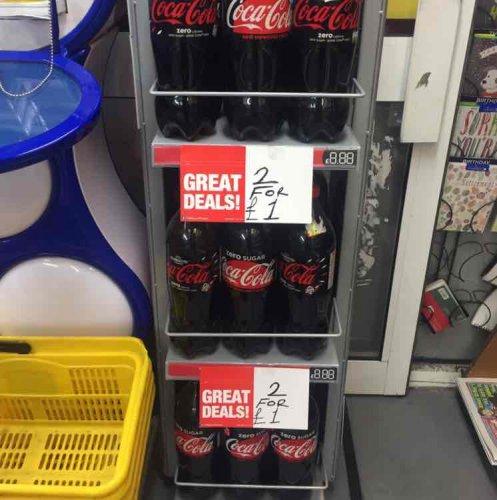 Coke Zero 1.75L 2 for £1 @ PremierStores Bournemouth