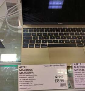 Apple Macbook (Model MK4M2B/A) in Gold - 256GB HDD, 8GB RAM, 12inch Retina Screen, Intel Core M 1.1GHz Processor from Waitrose Rushden with 3 Year Guarantee £899 @ Waitrose