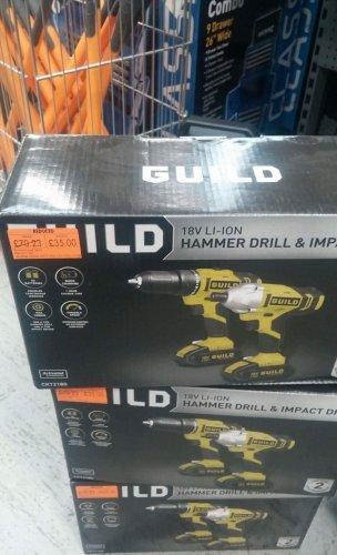 GUILD 18V Hammer drill & impact driver - £35 instore @ Homebase