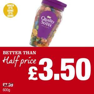 Nestle Quality Street Jar (600g) was £7.99 now £3.50 @ Premier Stores