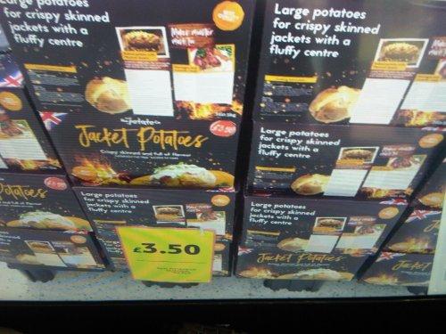 Box of Jacket Potatoes, minimum 5kg, £3.50 at Tesco Edinburgh Way Harlow SCANNING at 2p