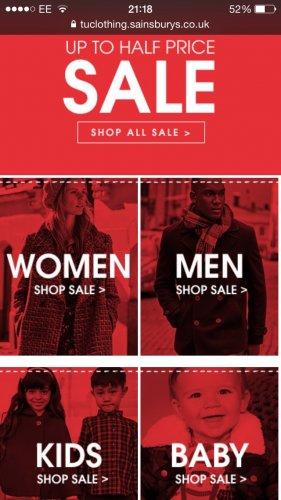 Sainsburys Tu clothing sale is now on online