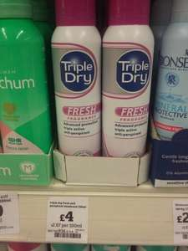 Triple Dry antiperspirant deodorant £4 @ Sainsbury's