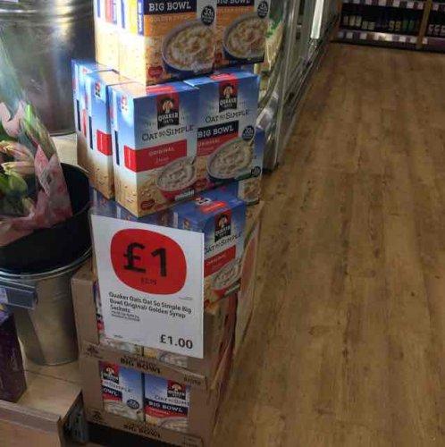Quaker Oats Big Bowl golden syrup 8x / original 10x now £1 at Co-op