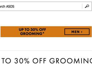 up to 30% off mens grooming products at asos